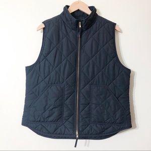 j. crew | black quilted vest xl